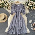 Dress Summer 2021 Green, purple Average size Mid length dress singleton  Short sleeve commute Crew neck High waist Broken flowers Socket A-line skirt puff sleeve Others 18-24 years old Type A Korean version 31% (inclusive) - 50% (inclusive) other other