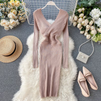 Dress Autumn of 2019 Black, Burgundy, khaki, grey Average size Middle-skirt singleton  Long sleeves commute V-neck High waist Solid color Socket One pace skirt routine Others 18-24 years old Type X Korean version 31% (inclusive) - 50% (inclusive) knitting other