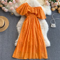 Dress Spring 2021 Orange M,L,XL,2XL Middle-skirt singleton  commute Slant collar High waist Solid color Socket A-line skirt Others 18-24 years old Type A Korean version 31% (inclusive) - 50% (inclusive) other other