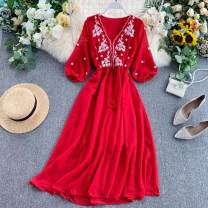Dress Spring 2020 Red, white Average size longuette singleton  three quarter sleeve commute V-neck High waist other Socket A-line skirt puff sleeve Others 18-24 years old Type A Korean version Embroidery, lace up 31% (inclusive) - 50% (inclusive) other other
