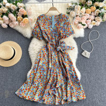 Dress Summer 2021 blue S,M,L Middle-skirt singleton  Short sleeve commute V-neck High waist Broken flowers Socket A-line skirt routine Others 18-24 years old Type A Korean version 31% (inclusive) - 50% (inclusive) other other