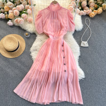Dress Spring 2021 Pink S,M,L,XL,2XL Middle-skirt singleton  Long sleeves commute Crew neck High waist Solid color Socket A-line skirt routine Others 18-24 years old Type A Korean version 31% (inclusive) - 50% (inclusive) other other