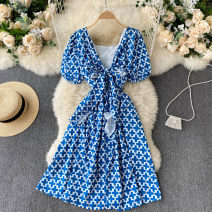 Dress Spring 2021 Black, blue Average size Short skirt singleton  Short sleeve commute square neck High waist other Socket A-line skirt puff sleeve Others 18-24 years old Type A Korean version 31% (inclusive) - 50% (inclusive) other other