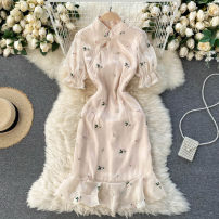 Dress Spring 2021 Apricot S,M,L,XL Short skirt singleton  Short sleeve commute stand collar High waist Solid color zipper A-line skirt puff sleeve Others 18-24 years old Type A Korean version Embroider, nail bead 31% (inclusive) - 50% (inclusive) other other