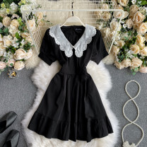 Dress Autumn 2020 black S,M,L Short skirt singleton  Long sleeves commute V-neck High waist Solid color Socket A-line skirt puff sleeve Others 18-24 years old Type A Korean version 31% (inclusive) - 50% (inclusive) other other