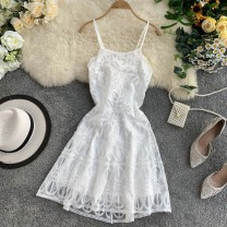 Dress Summer 2020 white S,M,L Short skirt singleton  Sleeveless commute square neck High waist Solid color Socket A-line skirt other camisole 18-24 years old Type A Korean version Gouhua, hollow out, lace, lace 30% and below other other