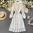 Dress Spring 2021 white S,M,L Mid length dress singleton  Long sleeves commute stand collar High waist Solid color Socket A-line skirt puff sleeve Others 18-24 years old Type A Korean version 31% (inclusive) - 50% (inclusive) other other