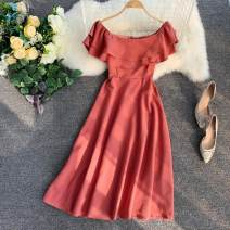 Dress Summer 2020 Average size Short skirt singleton  commute One word collar High waist Solid color zipper 18-24 years old Type A lady zipper 31% (inclusive) - 50% (inclusive)