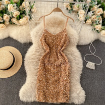 Dress Spring 2021 Pink, white, gold Average size Short skirt singleton  commute square neck High waist Solid color Socket A-line skirt camisole 18-24 years old Type A Korean version Sequins 31% (inclusive) - 50% (inclusive) other other
