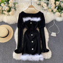 Dress Spring 2021 Black, white fluff on black background M, L Short skirt singleton  Long sleeves commute square neck High waist Solid color Socket A-line skirt routine Others 18-24 years old Type A Korean version 31% (inclusive) - 50% (inclusive) other other