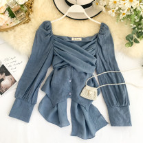 shirt Blue, white, green, black Average size Spring 2020 other 31% (inclusive) - 50% (inclusive) Long sleeves commute Short style (40cm < length ≤ 50cm) V-neck Single row multi button puff sleeve Solid color 18-24 years old Self cultivation Korean version Lace up, button