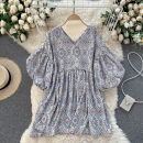 Dress Summer 2021 Apricot, black, blue, pink Average size Short skirt singleton  Short sleeve commute V-neck High waist other Socket A-line skirt puff sleeve Others 18-24 years old Type A Korean version 31% (inclusive) - 50% (inclusive) other other