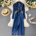 Dress Autumn 2020 blue S,M,L Mid length dress singleton  Long sleeves commute tailored collar High waist Solid color Single breasted A-line skirt routine Others 18-24 years old Type A Korean version 31% (inclusive) - 50% (inclusive) other other