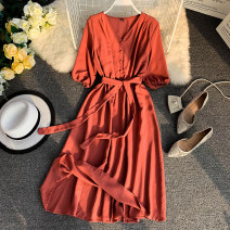 Dress Summer 2020 Black, sky blue, orange, red, yellow, pink, brick red Average size Middle-skirt singleton  elbow sleeve commute V-neck High waist Solid color Socket A-line skirt puff sleeve Others 18-24 years old Type A literature Bandage 31% (inclusive) - 50% (inclusive) other other