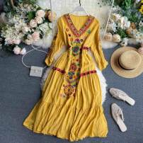Dress Summer 2020 Yellow, dark blue, white, red Average size Mid length dress singleton  Long sleeves commute V-neck High waist Solid color Socket Big swing puff sleeve Others 18-24 years old Type A Korean version Embroidery 31% (inclusive) - 50% (inclusive) other other