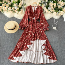 Dress Spring 2021 gules S,M,L Mid length dress singleton  Long sleeves commute V-neck High waist Dot Socket Irregular skirt puff sleeve Others 18-24 years old Type A Korean version 31% (inclusive) - 50% (inclusive) other other