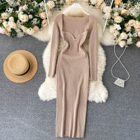 Dress Autumn 2020 Average size Middle-skirt singleton  Long sleeves commute square neck High waist Solid color Socket A-line skirt routine Others 18-24 years old Type A Korean version 31% (inclusive) - 50% (inclusive) other other