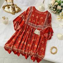 Dress Summer 2020 Red, dark blue Average size Short skirt singleton  elbow sleeve commute Crew neck Loose waist Decor Socket A-line skirt Bat sleeve Others 18-24 years old Type A Korean version 31% (inclusive) - 50% (inclusive) other other