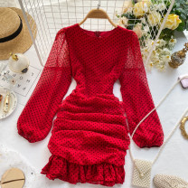 Dress Spring 2020 Apricot, black, red, green M, L Short skirt singleton  Long sleeves commute Crew neck High waist Dot Socket Ruffle Skirt puff sleeve Others 18-24 years old Type A Ruffles, folds, zippers 31% (inclusive) - 50% (inclusive) other other