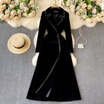 Dress Spring 2021 black S,M,L,XL,2XL longuette singleton  Long sleeves commute V-neck High waist Solid color Socket A-line skirt routine Others 18-24 years old Type A Korean version 31% (inclusive) - 50% (inclusive) other other
