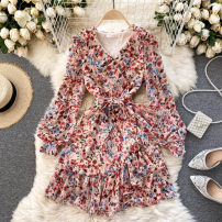 Dress Spring 2021 khaki S,M,L Short skirt singleton  Long sleeves commute V-neck High waist other Socket A-line skirt puff sleeve Others 18-24 years old Type A Korean version 31% (inclusive) - 50% (inclusive) other other