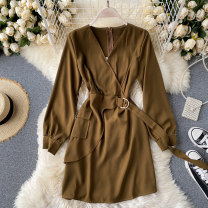 Dress Autumn 2020 Black, dark grey, brown S,M,L Short skirt singleton  Long sleeves commute V-neck High waist Solid color Socket A-line skirt puff sleeve Others 18-24 years old Type A Korean version 31% (inclusive) - 50% (inclusive) other other