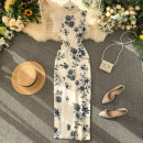 Dress Summer 2020 white S,M,L Mid length dress singleton  commute Crew neck High waist Decor Socket One pace skirt Others 18-24 years old Type X Korean version Lace, print 31% (inclusive) - 50% (inclusive) other other