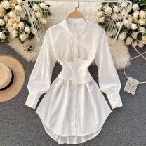 shirt Black, white, light blue M, L Spring 2021 other 31% (inclusive) - 50% (inclusive) Long sleeves commute Regular Polo collar Single row multi button puff sleeve other 18-24 years old Self cultivation Korean version Button