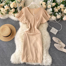 Dress Summer 2020 Apricot, black, red M, L Short skirt singleton  Short sleeve commute V-neck High waist Solid color Socket A-line skirt Others 18-24 years old Type A Korean version 31% (inclusive) - 50% (inclusive) other other
