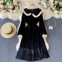 Dress Spring 2021 black M, L Mid length dress singleton  Long sleeves commute V-neck High waist Solid color Socket A-line skirt puff sleeve Others 18-24 years old Type A Korean version 31% (inclusive) - 50% (inclusive) other other
