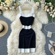 Dress Summer 2020 Average size Short skirt singleton  commute square neck High waist Solid color Socket One pace skirt camisole 18-24 years old Type X Korean version 31% (inclusive) - 50% (inclusive) other other