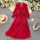 Dress Spring 2021 Average size Mid length dress Two piece set Long sleeves commute V-neck High waist Solid color Socket A-line skirt puff sleeve Others 18-24 years old Type A Korean version 31% (inclusive) - 50% (inclusive) other other