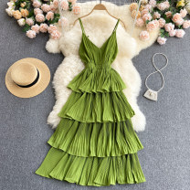 Dress Medium length skirt V-neck High waist Solid color Condom 18-24 years old Type A Korean version other Summer 2021 singleton  commute Cake skirt other 31% (inclusive) - 50% (inclusive) camisole One size fits all