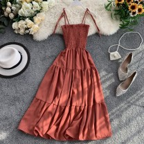 Dress Summer 2020 Red, black, green, yellow, pink, blue, Dark Khaki, brick red Average size longuette singleton  Sleeveless other High waist Solid color Socket A-line skirt other camisole 18-24 years old Type A Pleating 30% and below other