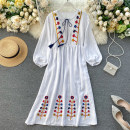 Dress Spring 2020 White, blue, red Average size longuette singleton  Long sleeves commute Crew neck middle-waisted Solid color Socket Big swing puff sleeve Others 18-24 years old Type H Korean version Embroidery 31% (inclusive) - 50% (inclusive) other other