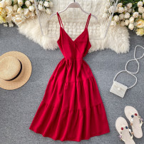 Dress Spring 2020 Black, apricot, orange, light green, pink, light blue, red, yellow Average size Middle-skirt singleton  commute V-neck High waist Solid color Socket Big swing camisole 18-24 years old Type A Korean version backless 31% (inclusive) - 50% (inclusive) other other