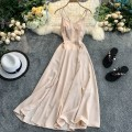 Dress Summer 2020 S,M,L Mid length dress singleton  Sleeveless commute V-neck High waist Solid color Socket A-line skirt other camisole 18-24 years old Type A Korean version 30% and below Chiffon