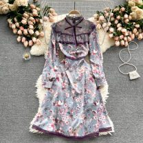 Dress Spring 2021 violet M,L,XL,2XL Middle-skirt singleton  Long sleeves commute Crew neck High waist Broken flowers Socket A-line skirt puff sleeve camisole 18-24 years old Type A Korean version 31% (inclusive) - 50% (inclusive) other other
