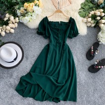 Dress Summer 2020 Pink, red, yellow, blue, green, black, orange Average size Middle-skirt singleton  Short sleeve commute One word collar High waist Solid color Socket A-line skirt puff sleeve Others 18-24 years old Type A Korean version 30% and below knitting