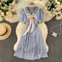 Dress Spring 2021 Black, white, blue, yellow, pink Average size Short skirt singleton  Short sleeve commute V-neck High waist Broken flowers Socket A-line skirt routine Others 18-24 years old Type A Korean version 31% (inclusive) - 50% (inclusive) other other