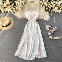 Dress Spring 2021 white S,M,L Mid length dress singleton  commute square neck High waist Solid color Socket A-line skirt camisole 18-24 years old Type A Korean version 31% (inclusive) - 50% (inclusive) other other