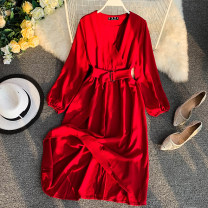 Dress Spring 2020 Black, red, orange, yellow, blue Average size Middle-skirt singleton  Long sleeves commute V-neck High waist Solid color Socket Big swing routine Others 18-24 years old Type A literature Bandage 31% (inclusive) - 50% (inclusive) Chiffon other