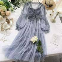 Dress Summer 2020 Pink, light green, apricot, black, grayish blue M, L Mid length dress Two piece set Long sleeves commute V-neck High waist Solid color Socket A-line skirt puff sleeve Others 18-24 years old Type A Korean version Button, mesh, lace 31% (inclusive) - 50% (inclusive) Lace other