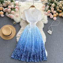 Dress Spring 2021 blue S,M,L,XL,2XL Middle-skirt singleton  Short sleeve commute V-neck High waist Solid color Socket A-line skirt routine Others 18-24 years old Type A Korean version 31% (inclusive) - 50% (inclusive) other other