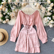 Dress Autumn 2020 Pink S,M,L Short skirt Two piece set Long sleeves commute One word collar High waist Solid color Socket A-line skirt puff sleeve 18-24 years old Type A Korean version 31% (inclusive) - 50% (inclusive) other other