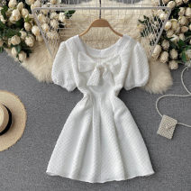Dress Summer 2021 Black, white M, L Short skirt singleton  Short sleeve commute Crew neck High waist Solid color Socket A-line skirt puff sleeve Others 18-24 years old Type A Korean version 31% (inclusive) - 50% (inclusive) other other