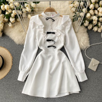 Dress Spring 2021 Black, white S,M,L Short skirt singleton  Long sleeves commute Crew neck High waist Solid color Socket A-line skirt routine Others 18-24 years old Type A Korean version bow 31% (inclusive) - 50% (inclusive) other other