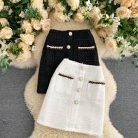 skirt Autumn 2020 S,M,L White, black Short skirt commute High waist A-line skirt Solid color Type A 25-29 years old 31% (inclusive) - 50% (inclusive) other other Pocket, button Korean version
