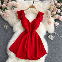 Dress Summer 2021 Black, white, red M, L Short skirt singleton  commute V-neck High waist Solid color Socket A-line skirt Flying sleeve Others 18-24 years old Type A Korean version 31% (inclusive) - 50% (inclusive) other other