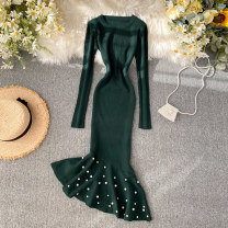 Dress Spring 2020 Dark green, black, red, gray Average size Middle-skirt singleton  Long sleeves commute Crew neck High waist Solid color Socket One pace skirt routine Others 18-24 years old Type X Korean version Nail bead 31% (inclusive) - 50% (inclusive) knitting other